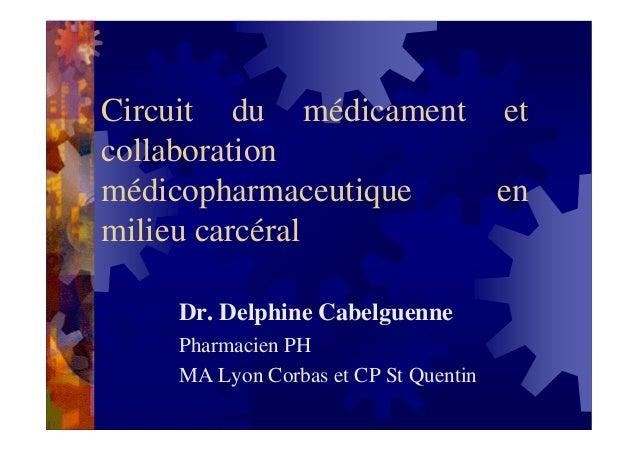Circuit du médicament etcollaborationmédicopharmaceutique  enmilieu carcéral    Dr. Delphine Cabelguenne    Pharmacien PH ...