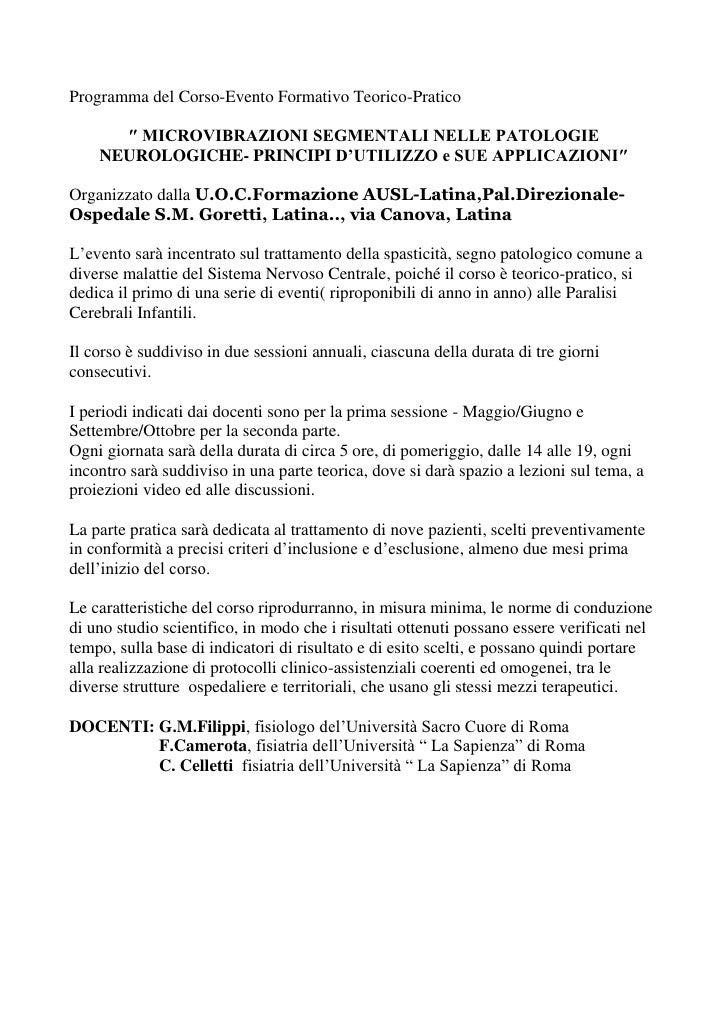 Programma del Corso-Evento Formativo Teorico-Pratico      ″ MICROVIBRAZIONI SEGMENTALI NELLE PATOLOGIE    NEUROLOGICHE- PR...