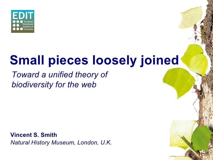 Vincent S. Smith Natural History Museum, London, U.K. Small pieces loosely joined Toward a unified theory of biodiversity ...