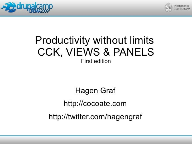 Productivity without limits CCK, VIEWS & PANELS             First edition                Hagen Graf        http://cocoate....