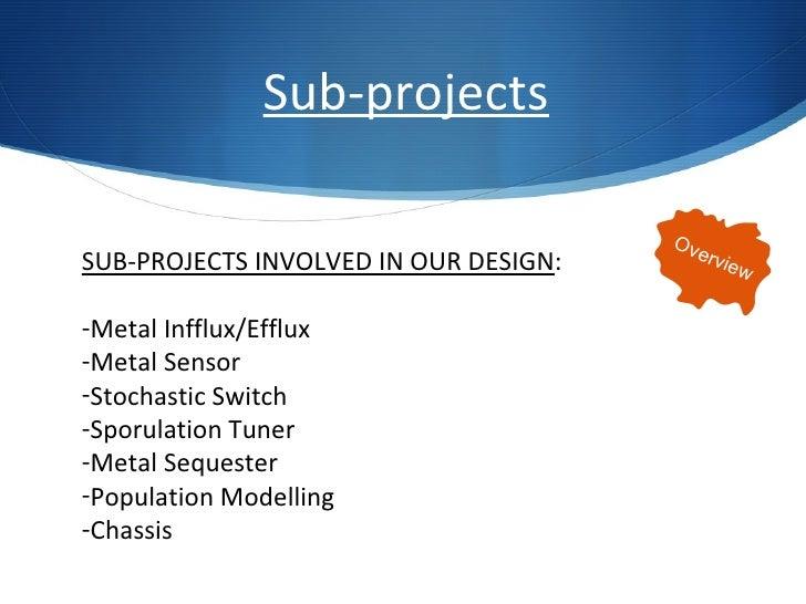 <ul><li>SUB-PROJECTS INVOLVED IN OUR DESIGN : </li></ul><ul><li>Metal Infflux/Efflux </li></ul><ul><li>Metal Sensor </li><...