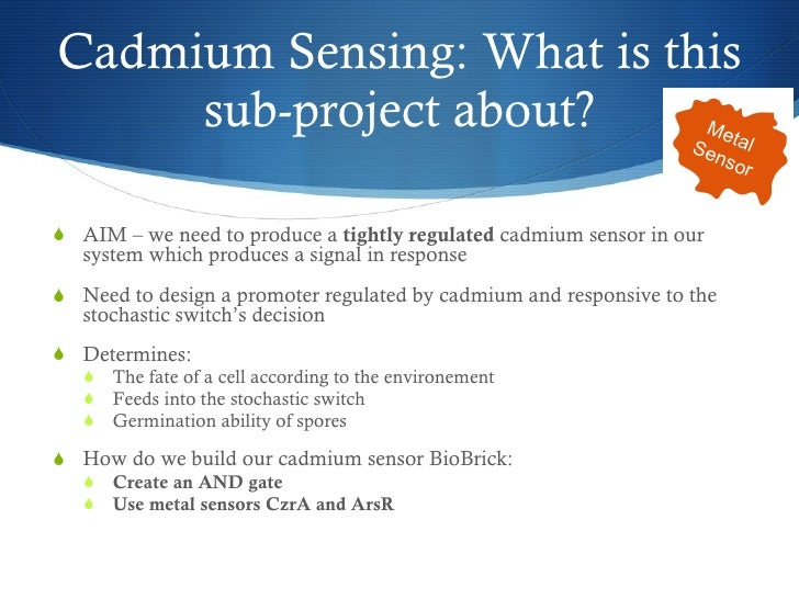 Cadmium Sensing: What is this sub-project about? <ul><li>AIM – we need to produce a  tightly regulated  cadmium sensor in ...