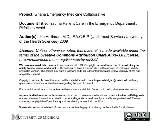 Project: Ghana Emergency Medicine Collaborative Document Title: Trauma Patient Care in the Emergency Department : Pitfalls...