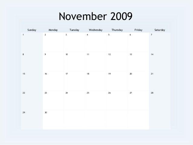 2009 Monthly Calendar