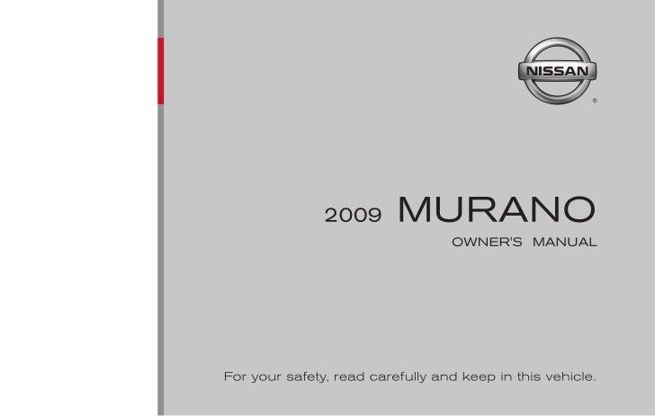 2009 murano owner s manual rh slideshare net 2009 nissan murano owners manual pdf 2009 nissan murano owner's manual canada