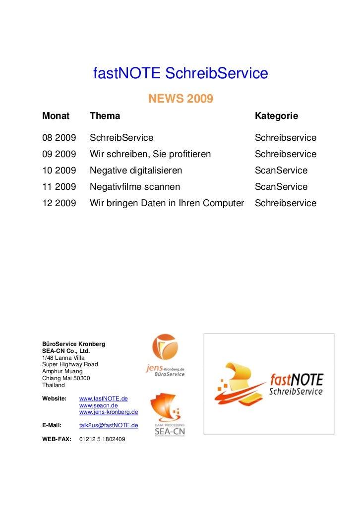 fastNOTE SchreibService                                  NEWS 2009Monat          Thema                                 Kat...