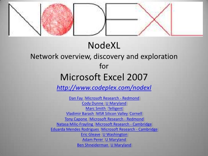 NodeXL Network overview, discovery and exploration                     for          Microsoft Excel 2007         http://ww...