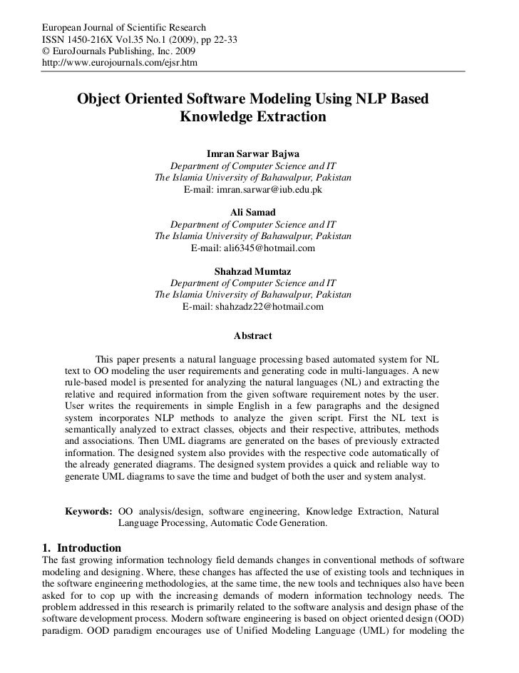 NL based Object Oriented modeling - EJSR 35(1)