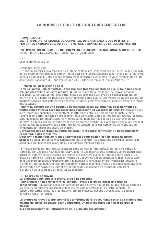 LA NOUVELLE POLITIQUE DU TOURISME SOCIAL  HERVÉ NOVELLI, SECRÉTAIRE D'ETAT CHARGÉ DU COMMERCE, DE L'ARTISANAT, DES PETITES...