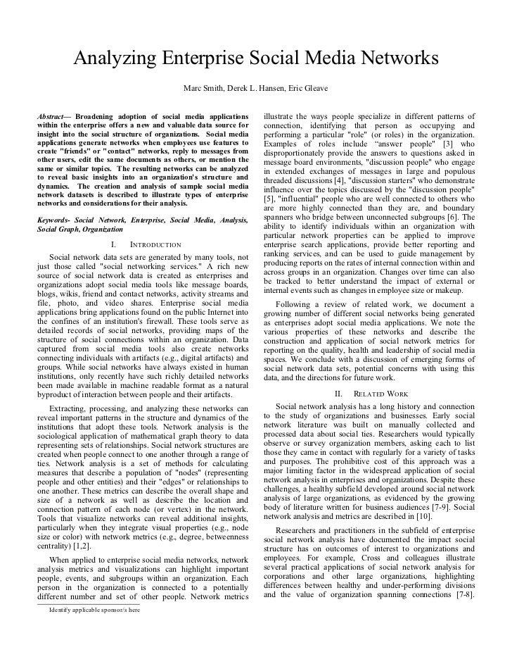 Analyzing Enterprise Social Media Networks                                                 Marc Smith, Derek L. Hansen, Er...