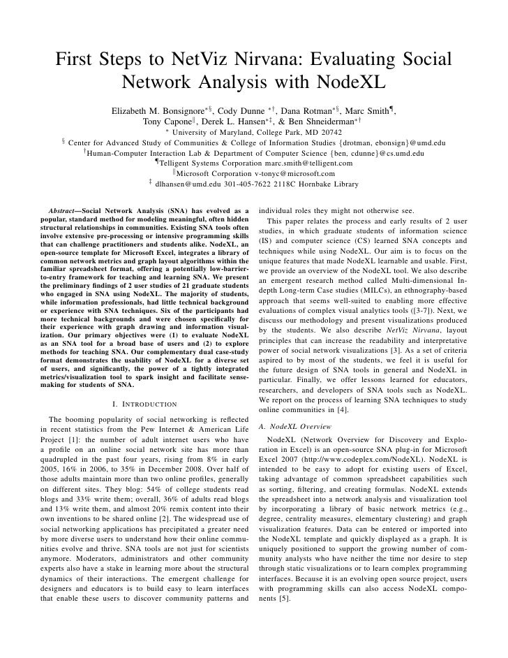 First Steps to NetViz Nirvana: Evaluating Social              Network Analysis with NodeXL                       Elizabeth...