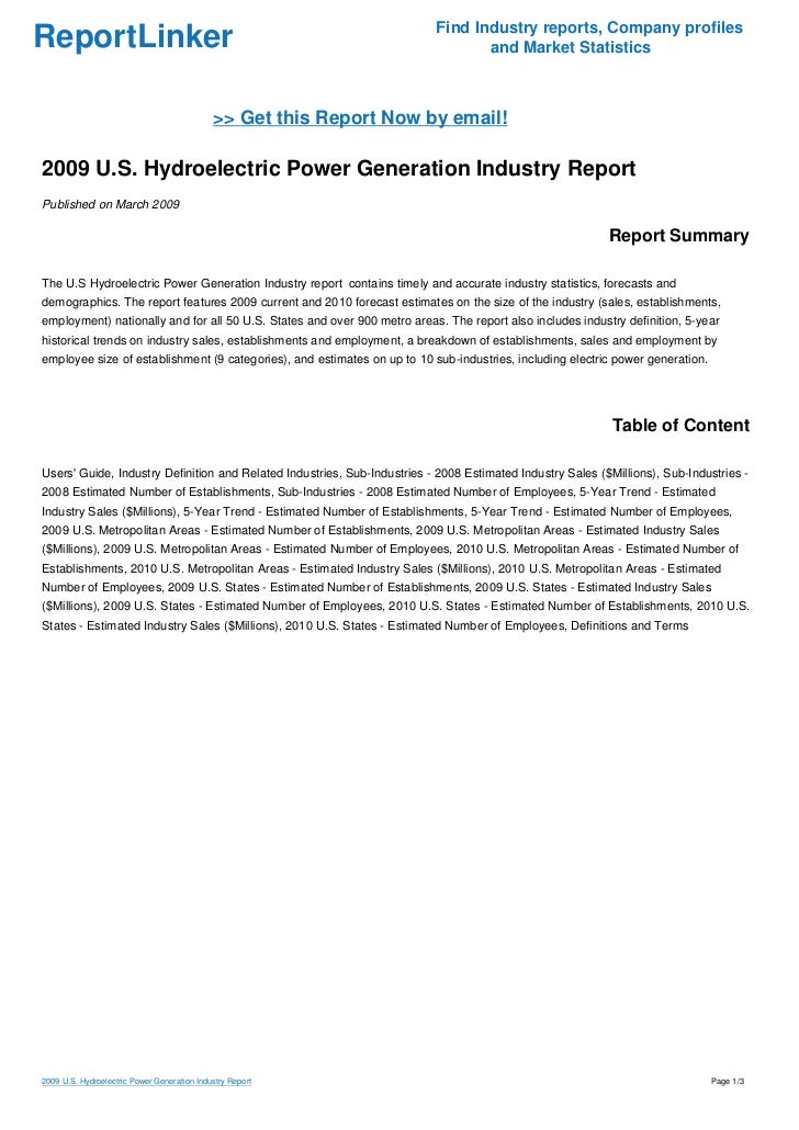 2009 U.S. Hydroelectric Power Generation Industry Report