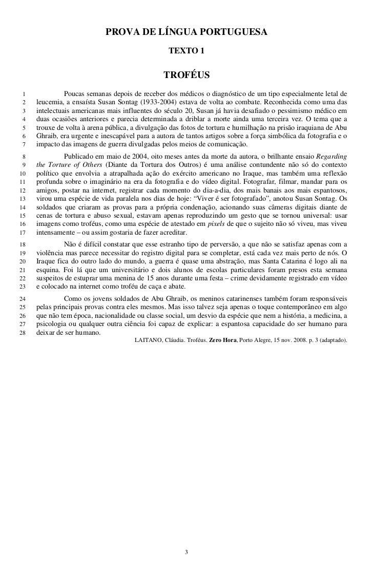 PROVA DE LÍNGUA PORTUGUESA                                                   TEXTO 1                                      ...