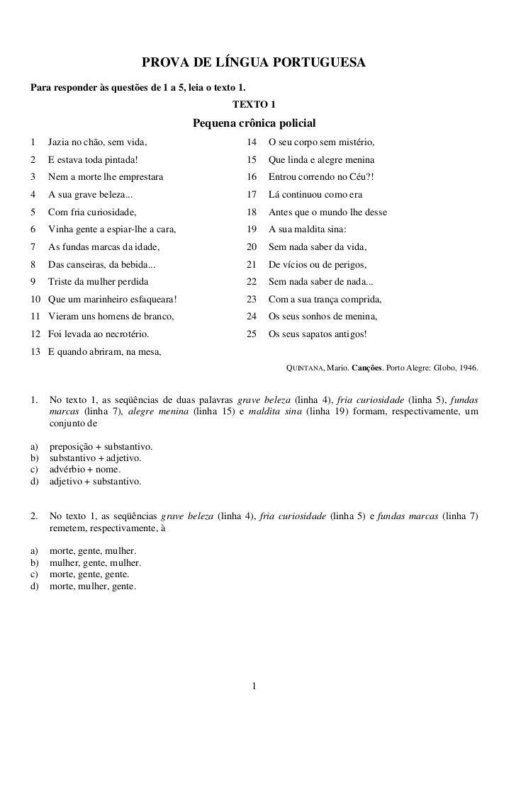 PROVA DE LÍNGUA PORTUGUESAPara responder às questões de 1 a 5, leia o texto 1.                                            ...