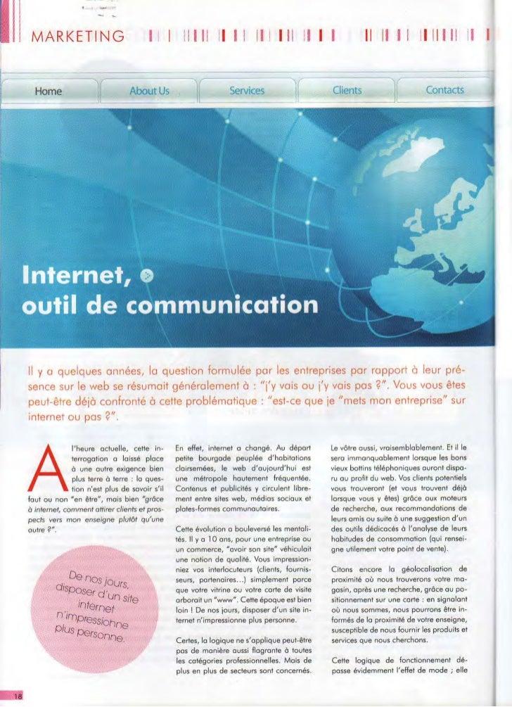 Internet : outil de communication (site web, référencement, réseaux sociaux)