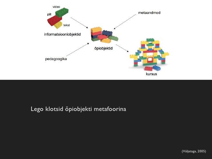 Õpiobjektide metaandmed   •   Õpiobjekti metaandmed — üldised, tehnilised,     pedagoogilised, õiguslikud jne andmed õpiob...