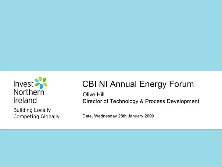 CBI NI Annual Energy Forum  Date, Wednesday 28th January 2009 Olive Hill Director of Technology & Process Development