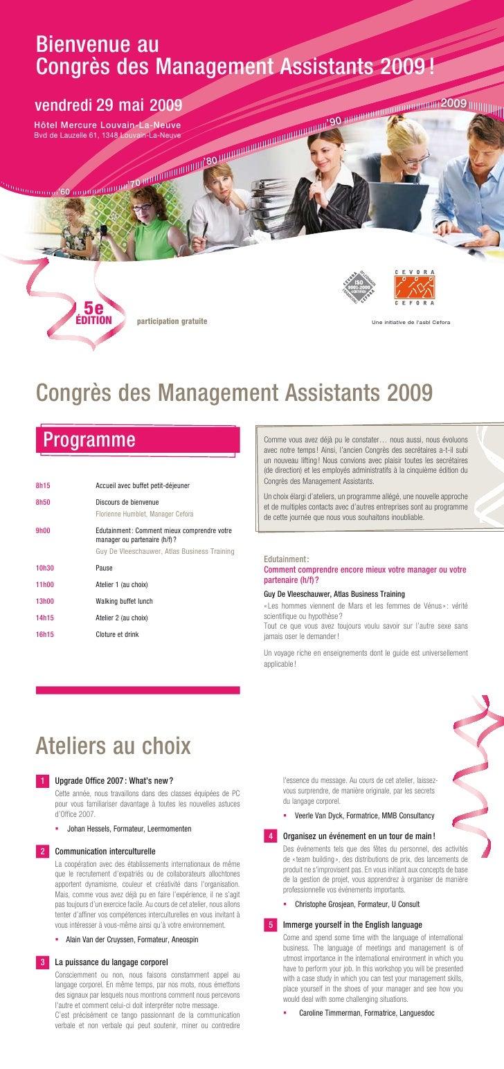 Bienvenue auCongrès des Management Assistants 2009 !vendredi 29 mai 2009                                                  ...