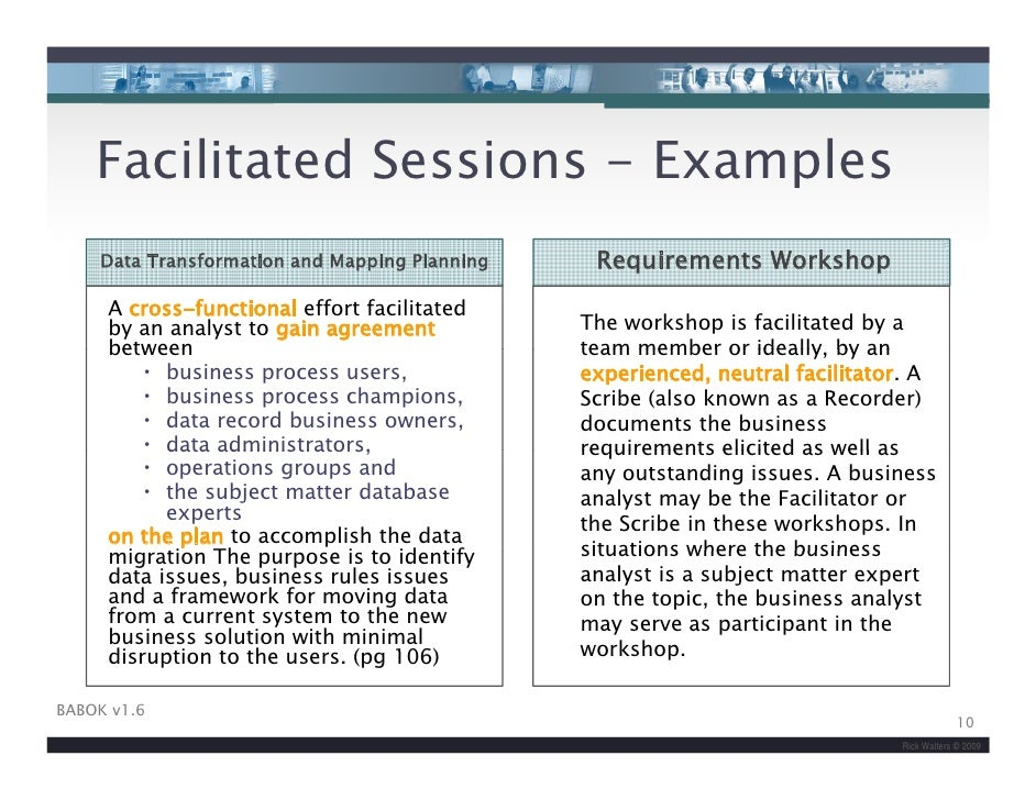Iiba facilitation skills for business analysis v2 for Facilitation plan template