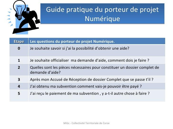 Guide pratique du porteur de projet Numérique Mitic - Collectivité Territoriale de Corse Etape Les questions du porteur de...