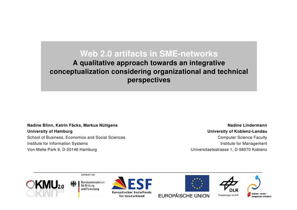 Web 2.0 artifacts in SME-networks                  A qualitative approach towards an integrative            conceptualizat...