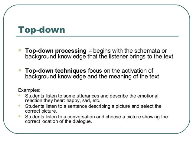 top down listening examples