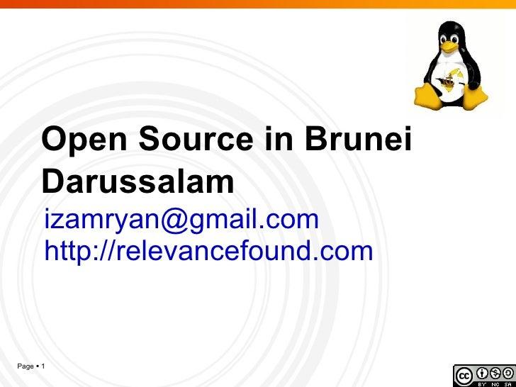 Open Source in Brunei Darussalam [email_address] http://relevancefound.com