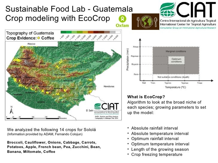 Sustainable Food Lab - Guatemala Crop modeling with EcoCrop We analyzed the following 14 crops for Sololá (Information pro...