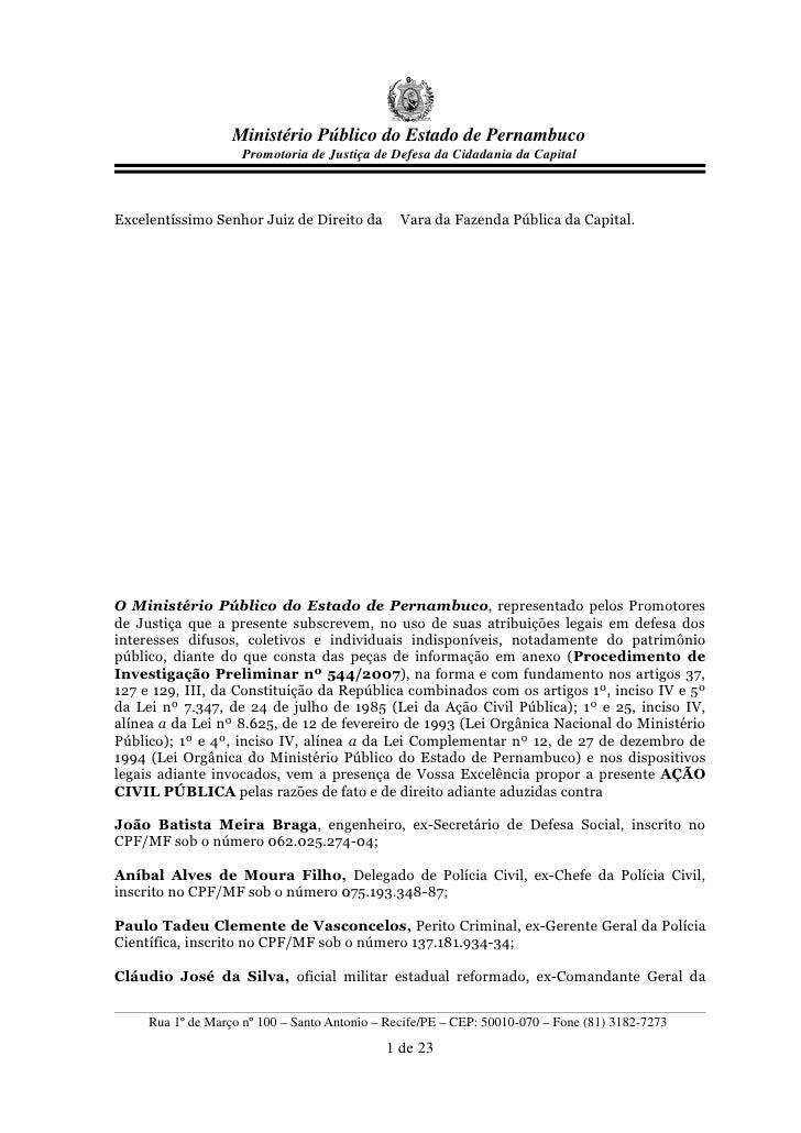 Ministério Público do Estado de Pernambuco                      Promotoria de Justiça de Defesa da Cidadania da Capital   ...