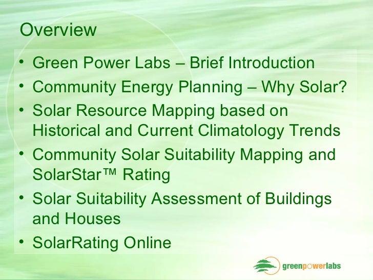 Solar Energy Assessment for Community Energy Planning Slide 2