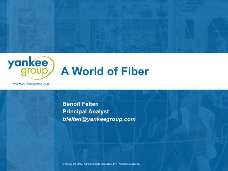 A World of Fiber Benoît Felten Principal Analyst [email_address]
