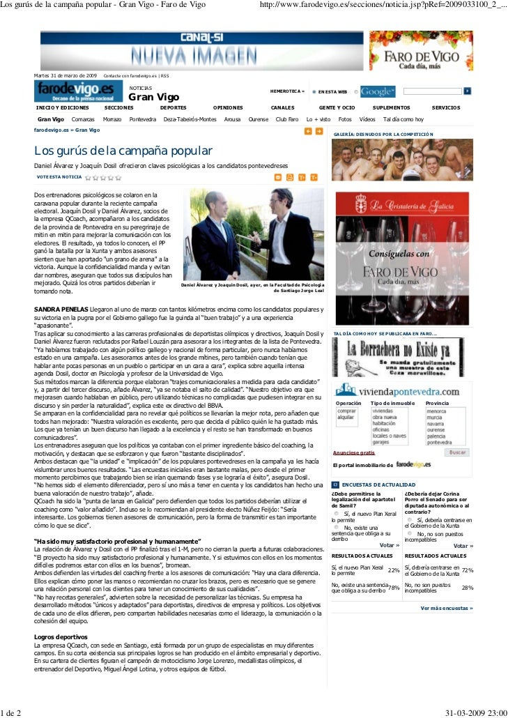 Los gurús de la campaña popular - Gran Vigo - Faro de Vigo                                                   http://www.fa...
