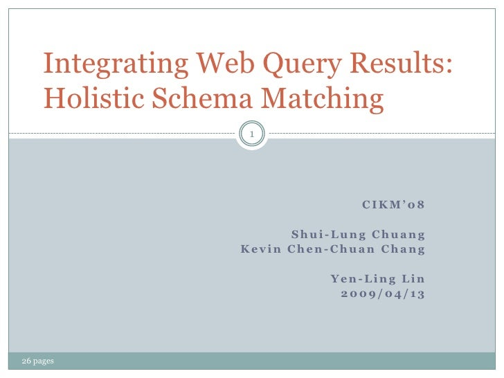 Integrating Web Query Results:      Holistic Schema Matching                     1                                      CI...