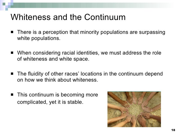 Whiteness and the Continuum <ul><li>There is a perception that minority populations are surpassing white populations. </li...