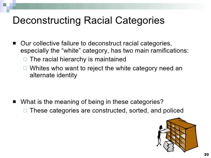 """Deconstructing Racial Categories <ul><li>Our collective failure to deconstruct racial categories, especially the """"white"""" c..."""