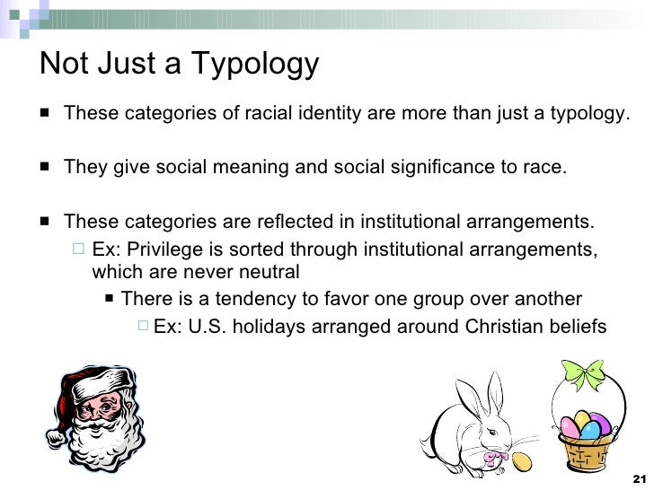 Not Just a Typology <ul><li>These categories of racial identity are more than just a typology. </li></ul><ul><li>They give...