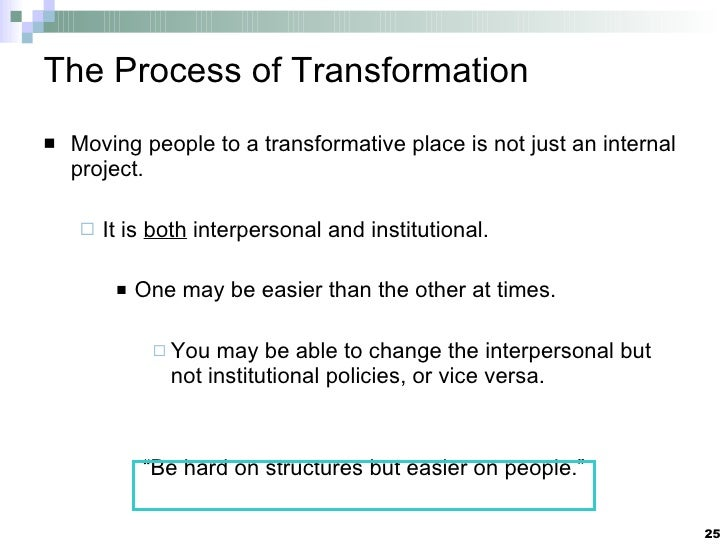 The Process of Transformation <ul><li>Moving people to a transformative place is not just an internal project. </li></ul><...