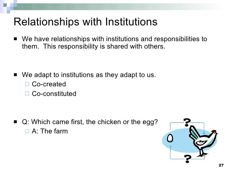 Relationships with Institutions <ul><li>We have relationships with institutions and responsibilities to them.  This respon...