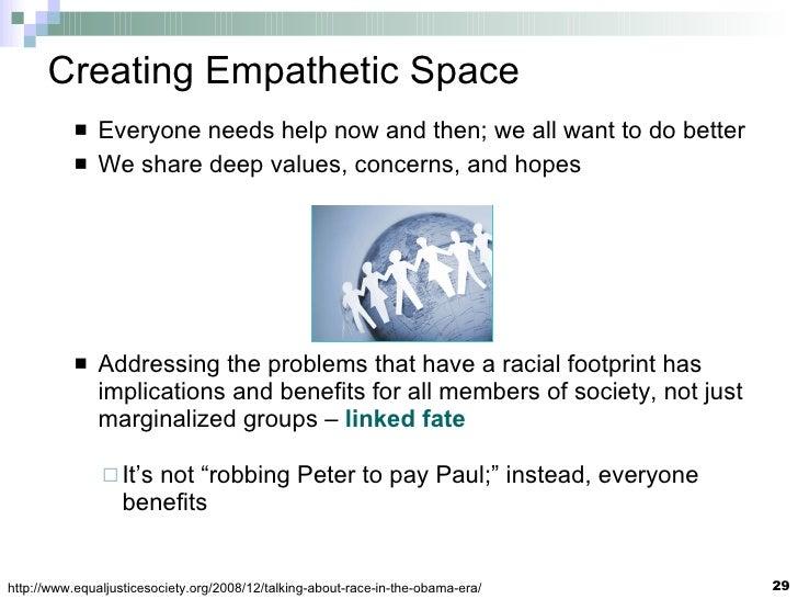Creating Empathetic Space <ul><li>Everyone needs help now and then; we all want to do better </li></ul><ul><li>We share de...