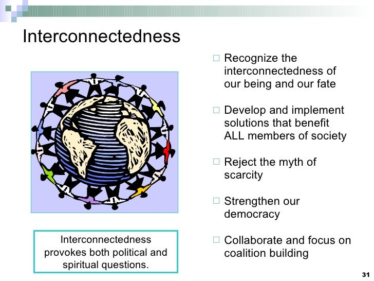Interconnectedness <ul><ul><li>Recognize the interconnectedness of our being and our fate </li></ul></ul><ul><ul><li>Devel...