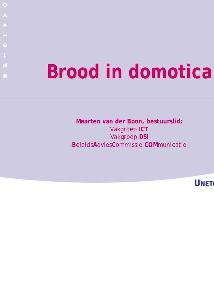 Brood in domotica   Maarten van der Boon, bestuurslid:              Vakgroep ICT              Vakgroep DSI  BeleidsAdviesC...