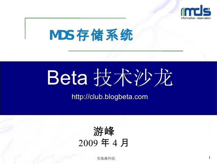 MDS 存储系统 游峰 2009 年 4 月 Beta 技术沙龙 http://club.blogbeta.com