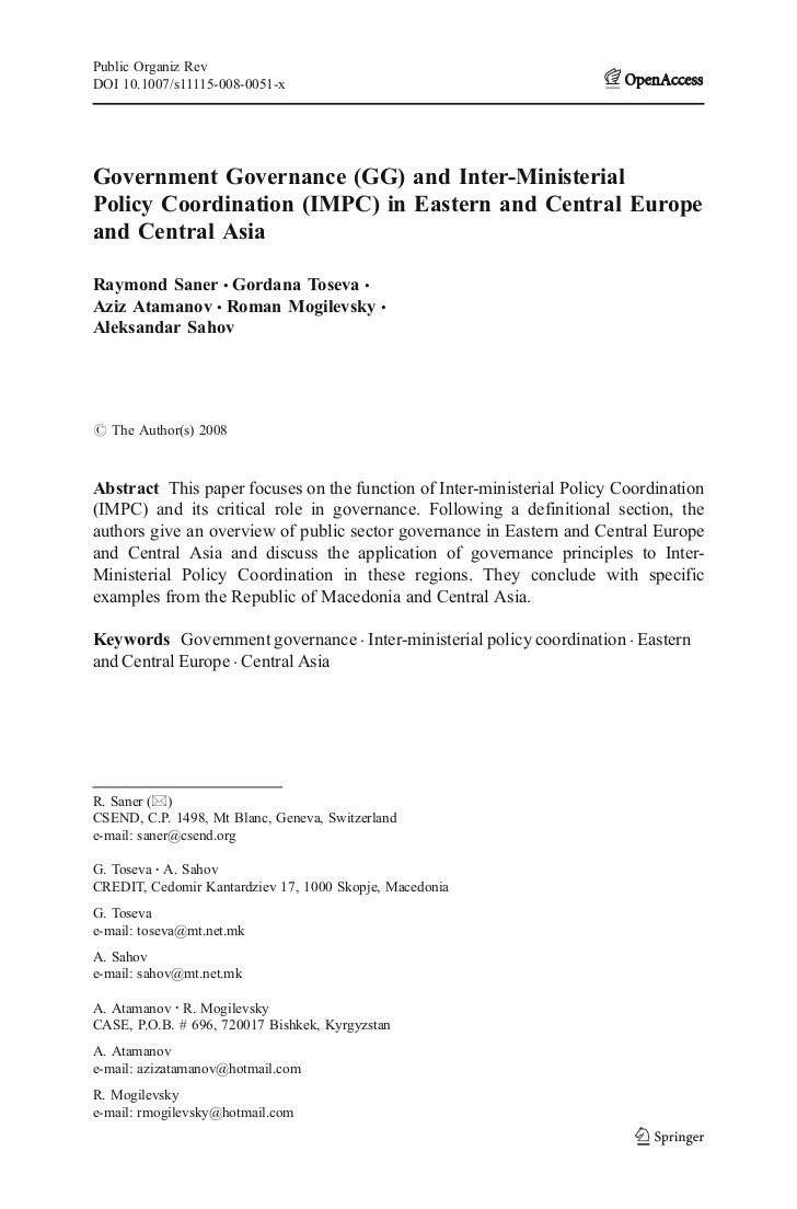 Public Organiz RevDOI 10.1007/s11115-008-0051-xGovernment Governance (GG) and Inter-MinisterialPolicy Coordination (IMPC) ...