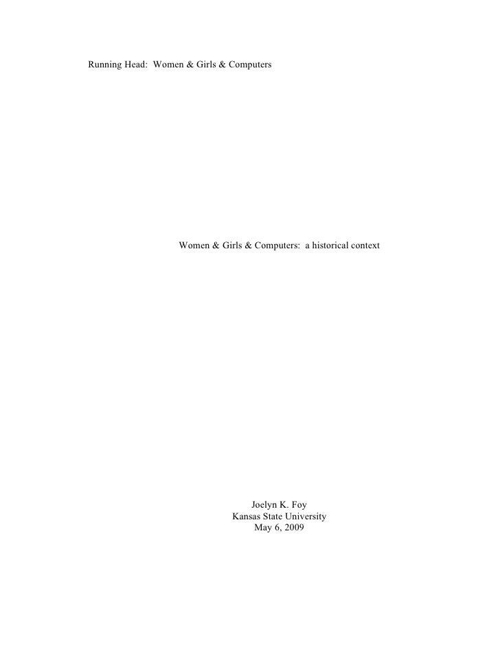 Running Head: Women & Girls & Computers                        Women & Girls & Computers: a historical context            ...