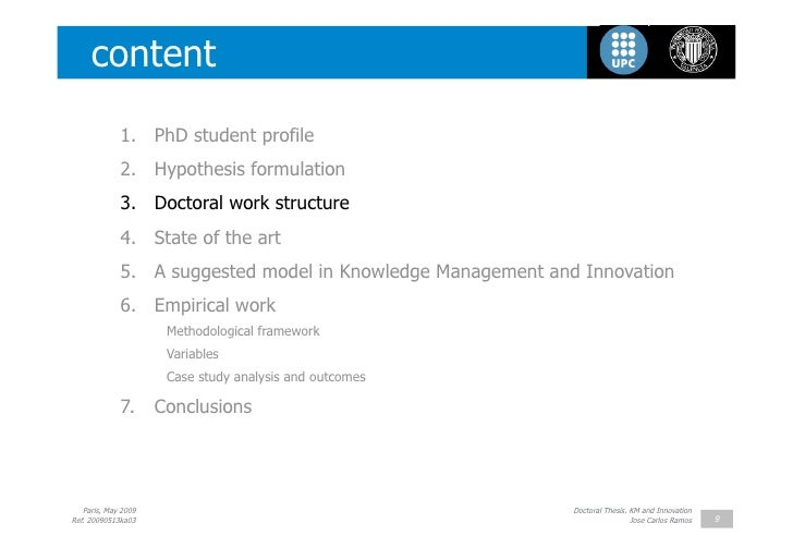 Doctoral thesis on knowledge management