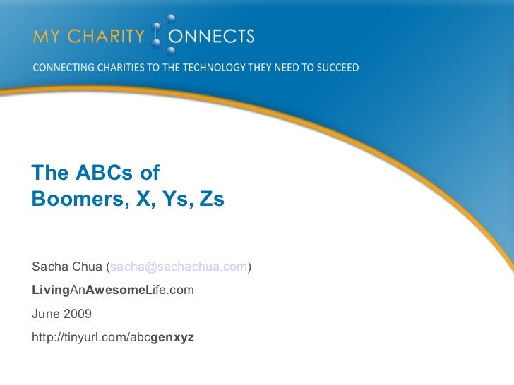 The ABCs of  Boomers, X, Ys, Zs Sacha Chua ( [email_address] ) Living An Awesome Life.com June 2009 http://tinyurl.com/abc...