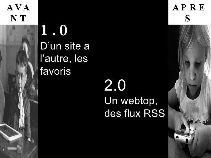 AVANT APRES 1.0 D'un site a l'autre, les favoris 2.0 Un webtop, des flux RSS