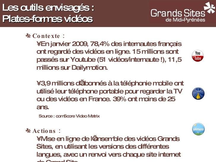 <ul><li>Contexte : </li></ul><ul><ul><li>En janvier 2009, 78,4% des internautes français ont regardé des vidéos en ligne. ...