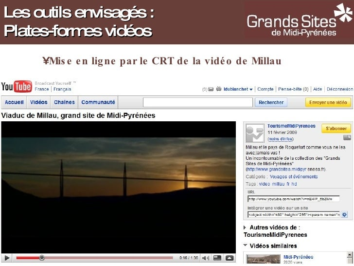 Les outils envisagés : Plates-formes vidéos <ul><li>Mise en ligne par le CRT de la vidéo de Millau </li></ul>