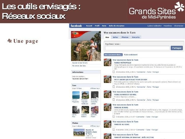 <ul><li>Une page </li></ul>Les outils envisagés : Réseaux sociaux